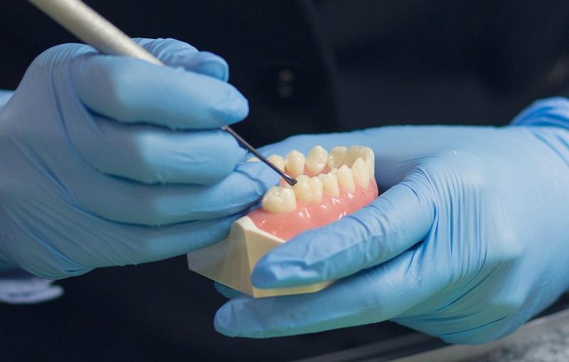 Close-up of denturist working on denture model for Denturists Society of Saskatchewan homepage